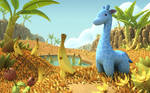 Blue Giraffe in Banana Savannah