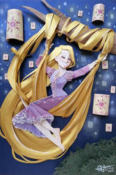 rapunzel in paper cutting