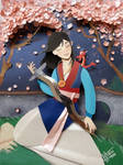 Mulan in paper cutting