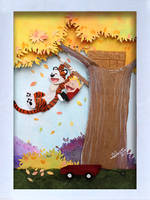 Calvin and hobbes in cut paper by RaphaelOda