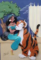 Princess Jasmine and Hanjar in cut paper by RaphaelOda