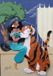 Princess Jasmine and Hanjar in cut paper