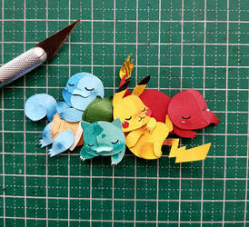 pokemon in Paper Cutting
