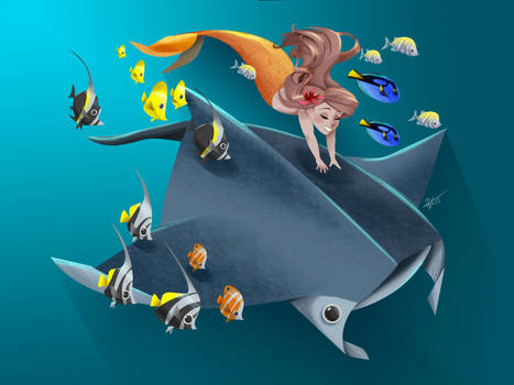 Manta ray and Mermaid