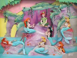 Peter Pan in lagoon Mermaid