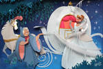 Cinderella  and  Fairy godmother In paper Art