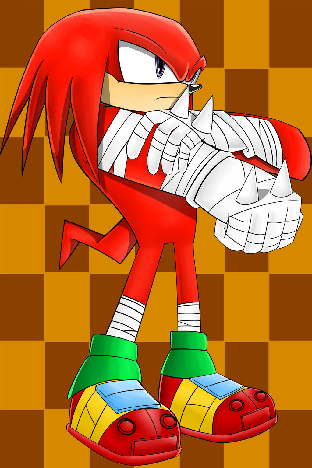 how to draw knuckles from sonic