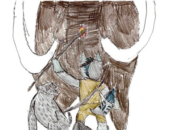 Farcry Primal: werewolf + leopard vs mammoth by torakal on