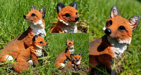OOAK Fox Mother and Kit Figures