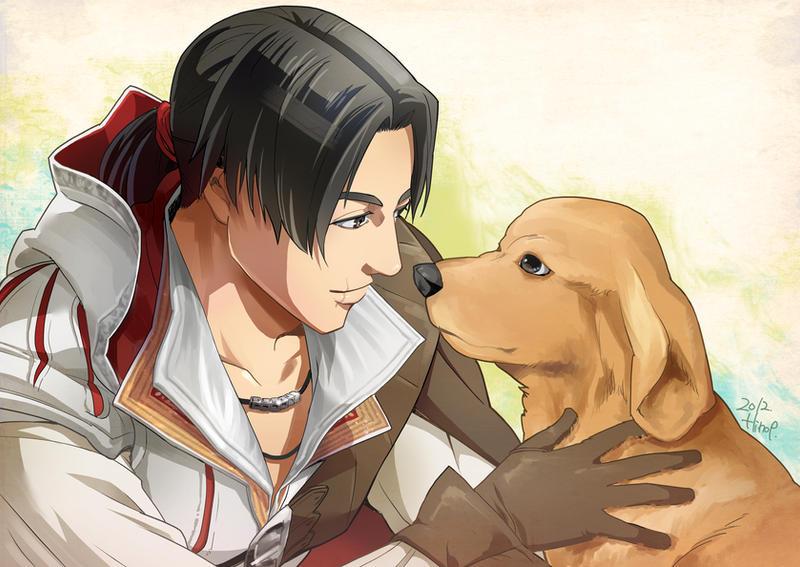 Ezio with the dog by Hinoe-0