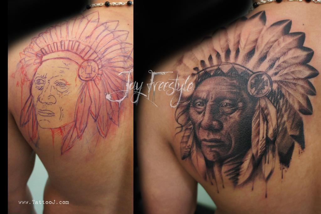Indian chief tattoo by Tattoo-J