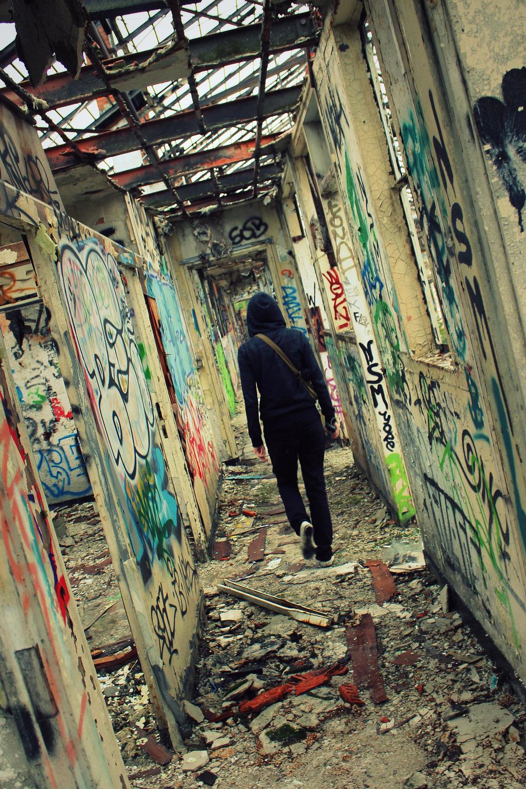 Hallway of undergroud art by AuroraxCore