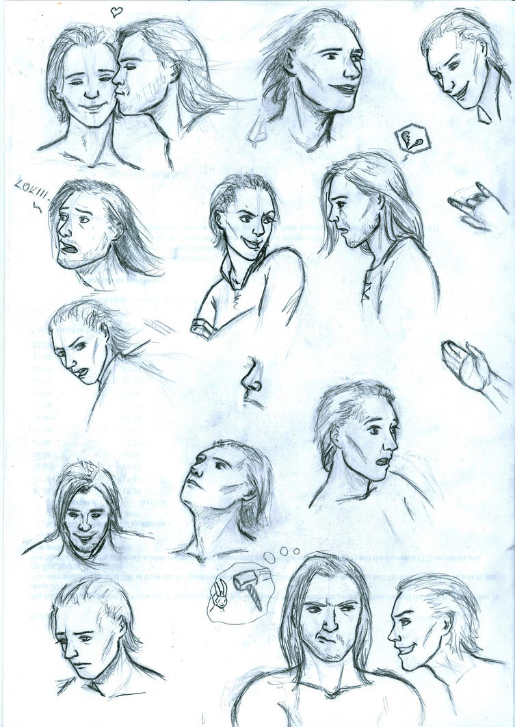 Loki Thor sketchdump by miraxterrik
