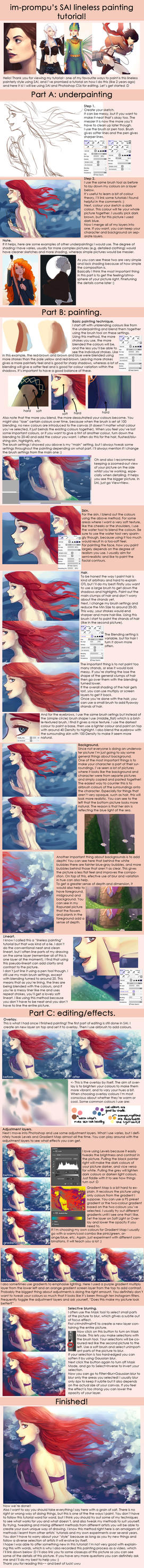 SAI lineless painting tutorial + VIDEO PROCESS by im-promptu
