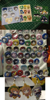 Stickers, Buttons, and Charms