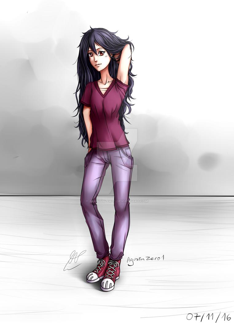 Dibujo Chica De Pelo Negro By Agustinzero1 On Deviantart