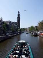 Sailing around Amsterdam Westerkerk Tower