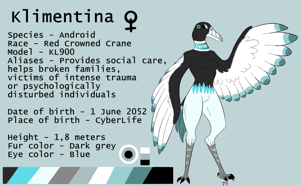 Anthro Red Crowned Crane Android reference by AryVaur