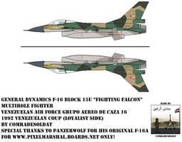 Venezuelan F-16A block 15U Fighting Falcon by Comradesoldat
