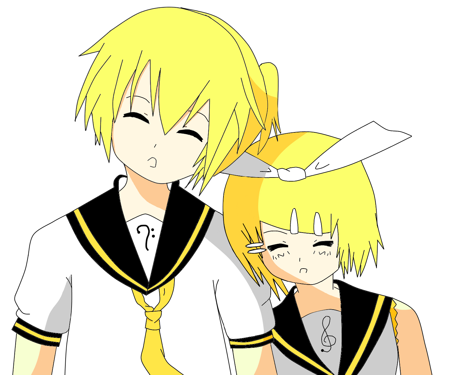 Kagamine Rin and Len by LittleAiiko