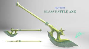 Skyrim Glass Battle Axe (3D model available)