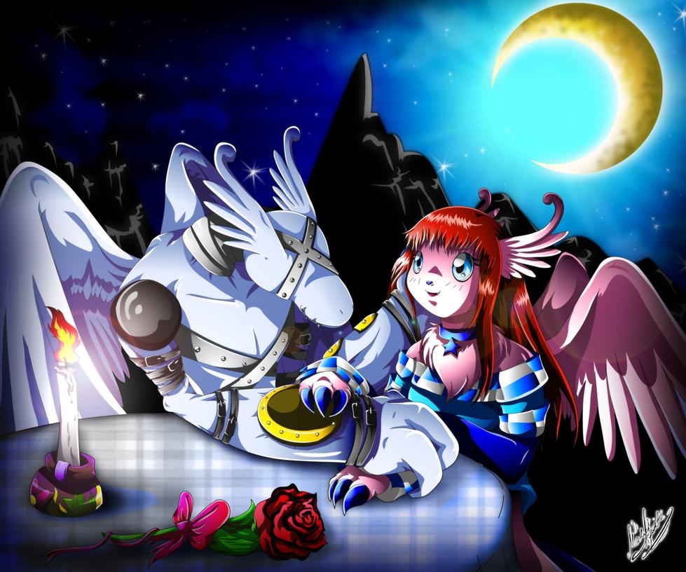 Art Trade: Auroramon and Gargoylemon by YukariAsano