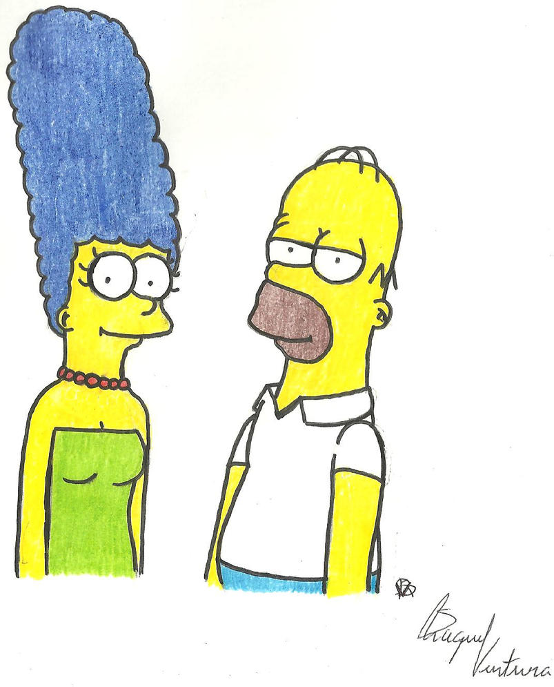 Marge and Homer by FamilyGayFanGirl