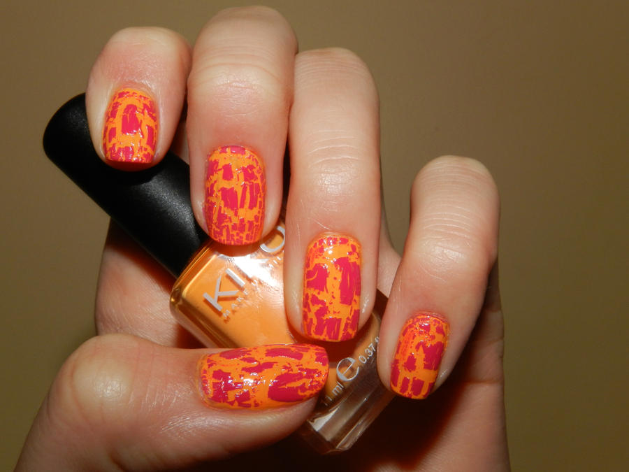 nail art pink rock top and orange by 15071994 on DeviantArt