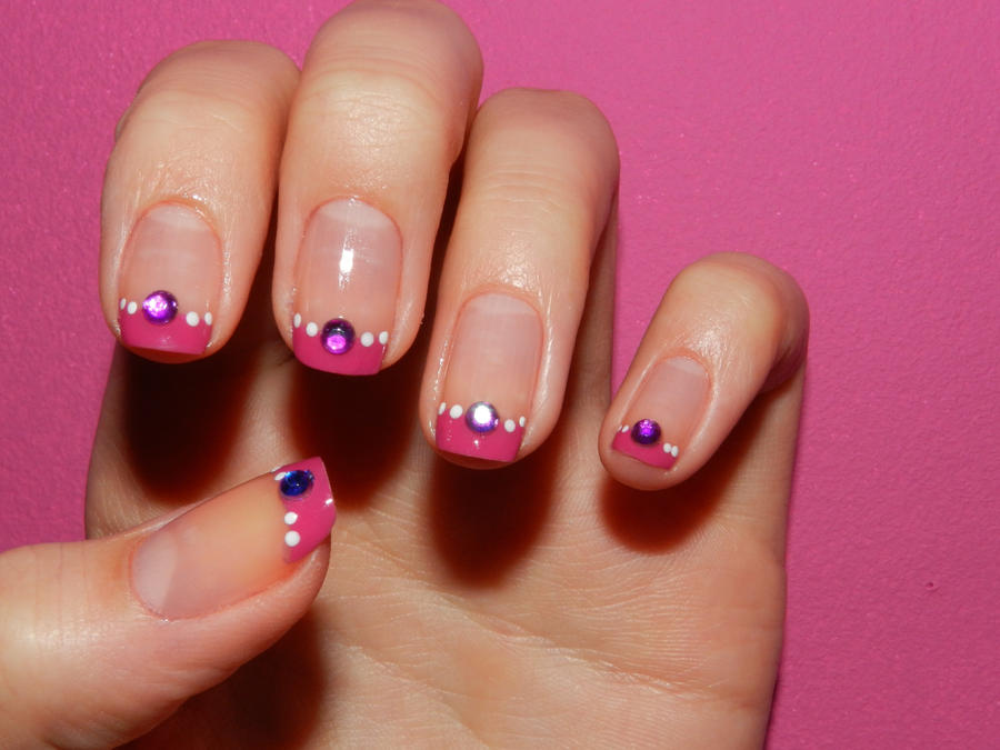 Nail Art  Pink French With Strass By 15071994 On DeviantArt