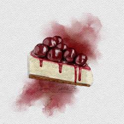 Blueberry compote cheesecake (ibispaint)