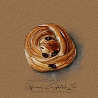 Cinnamon Raisin buns (ibispaint watercolor effect)