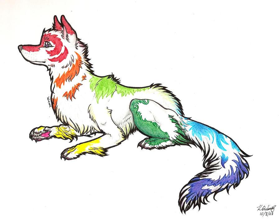 Rainbow Wolf- Iris By Rabidpurplepuma On DeviantArt