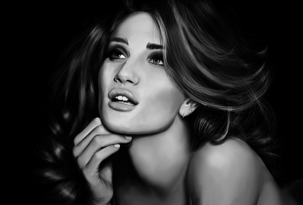 Rosie Huntington-Whiteley - Digital Painting by SilverbackDesign