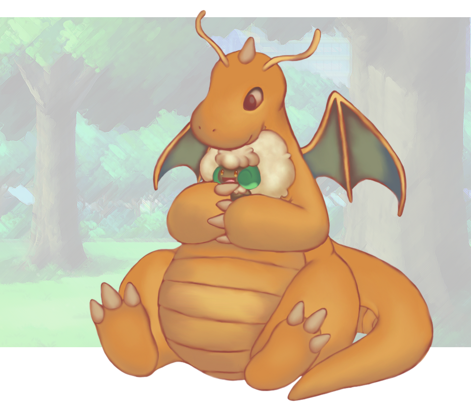 Dragonite with little buddy by LittleKaiju
