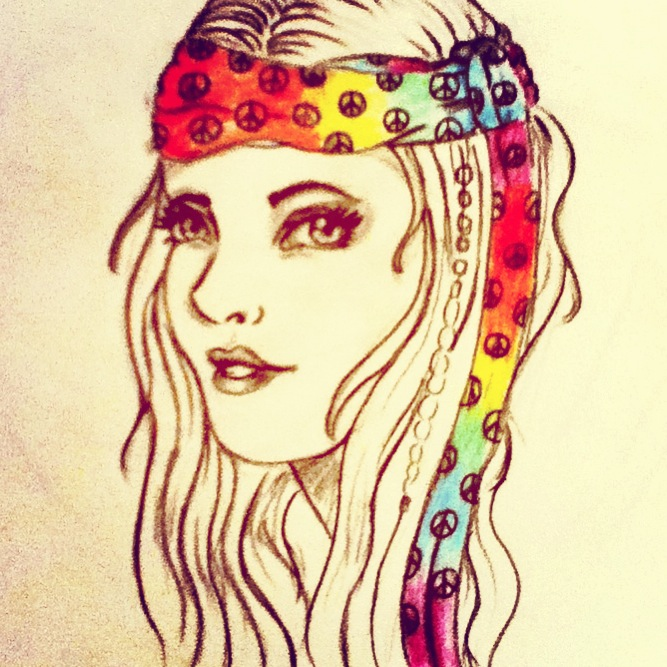 Hippie girl by speckledeyes on DeviantArt