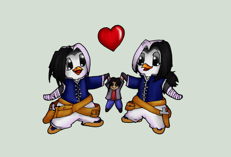 Ein and Zwei Penguin twins by Bunnygirle26