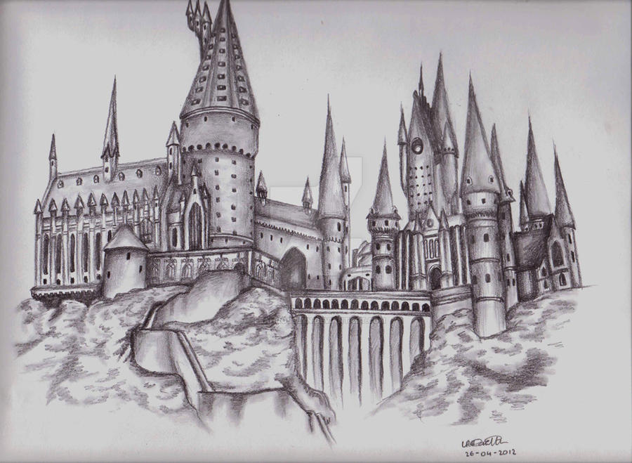 Line Drawing Harry Potter : Hogwarts castle by leahrosslyn on deviantart