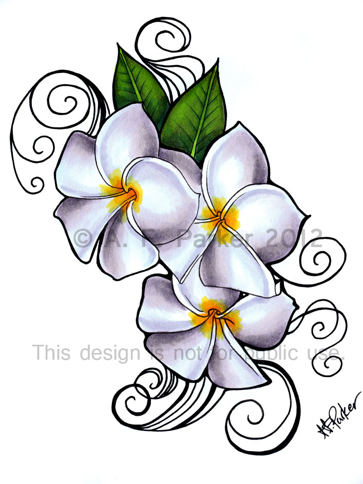 Plumeria 'Siam Lilac' tattoo design by styx-leagon