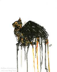 Tortoiseshell Winged Watercolor Cat