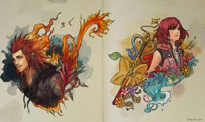 Inktober Lea and Kairi Kingdom Hearts 3