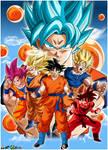 Dragon Ball Goku Faces Poster