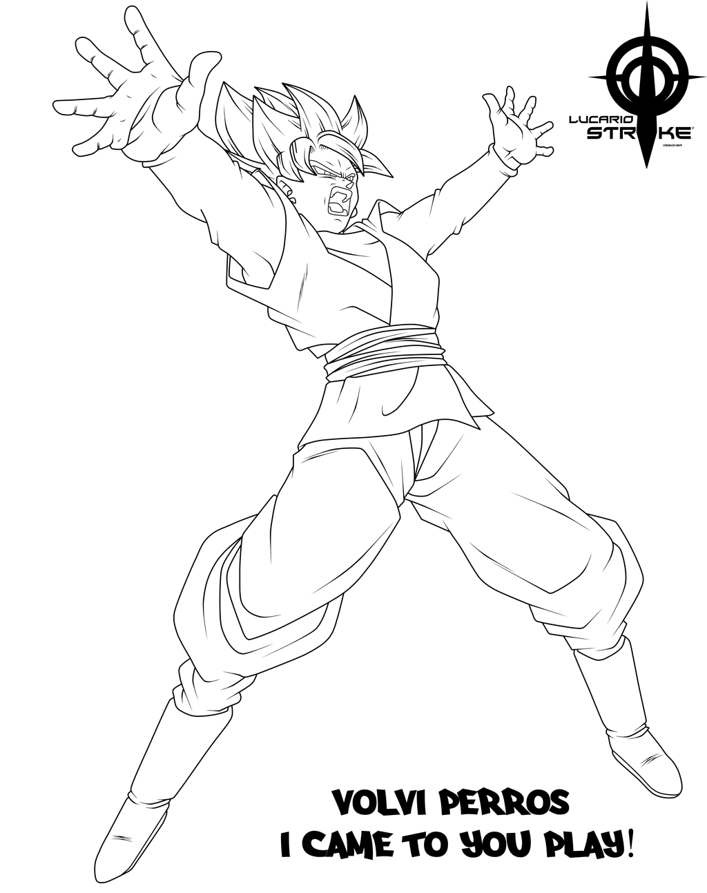 Lucario Strike 58 4 BLACK GOKU LINEART I CAME TO YOU PLAY PERROS By