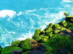 Blue Water Over Rocks