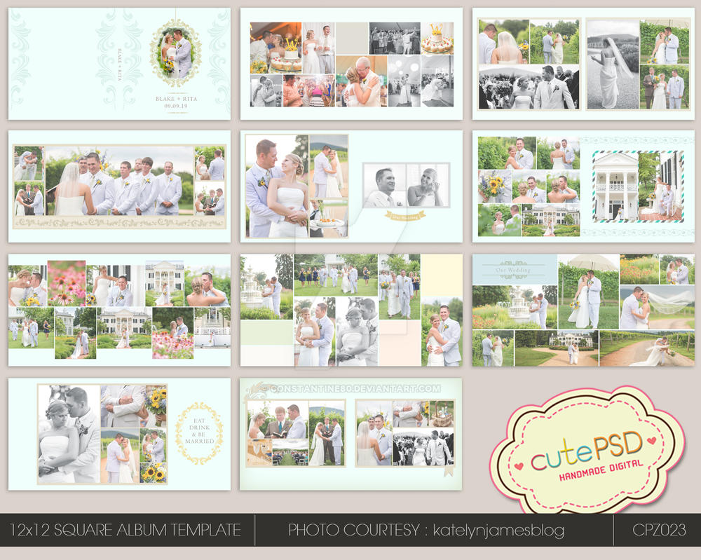 12x12 wedding album template happy blue by constantine80 for Wedding photo album templates in photoshop
