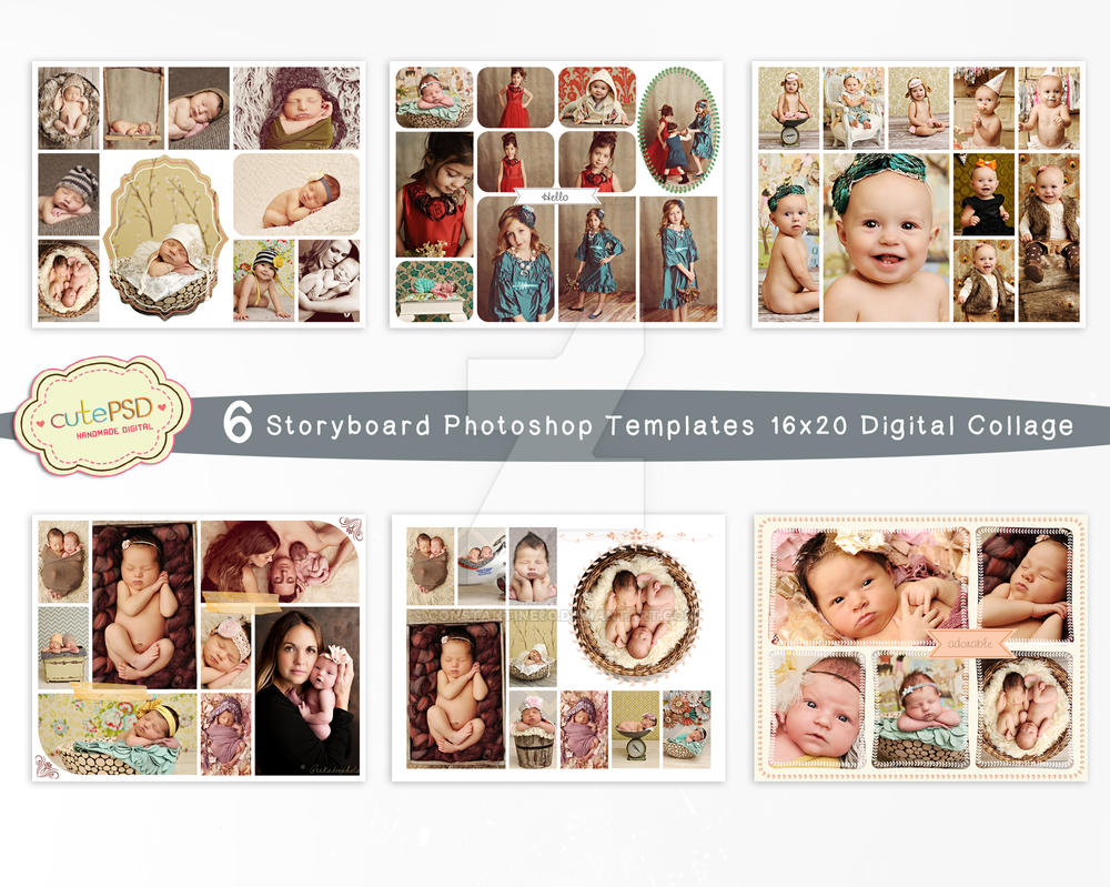 Collage Template 6 Storyboard Photoshop Template By Constantine80