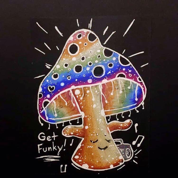 Get Funky Rainbow Mushroom Art