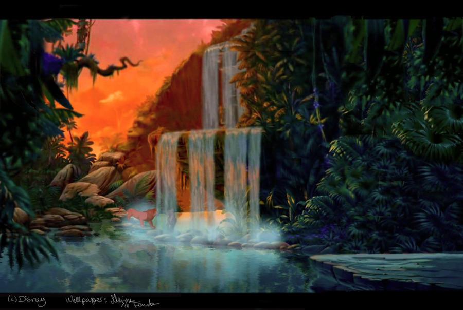 Lion King Waterfall wallpaper by YunakiDraw