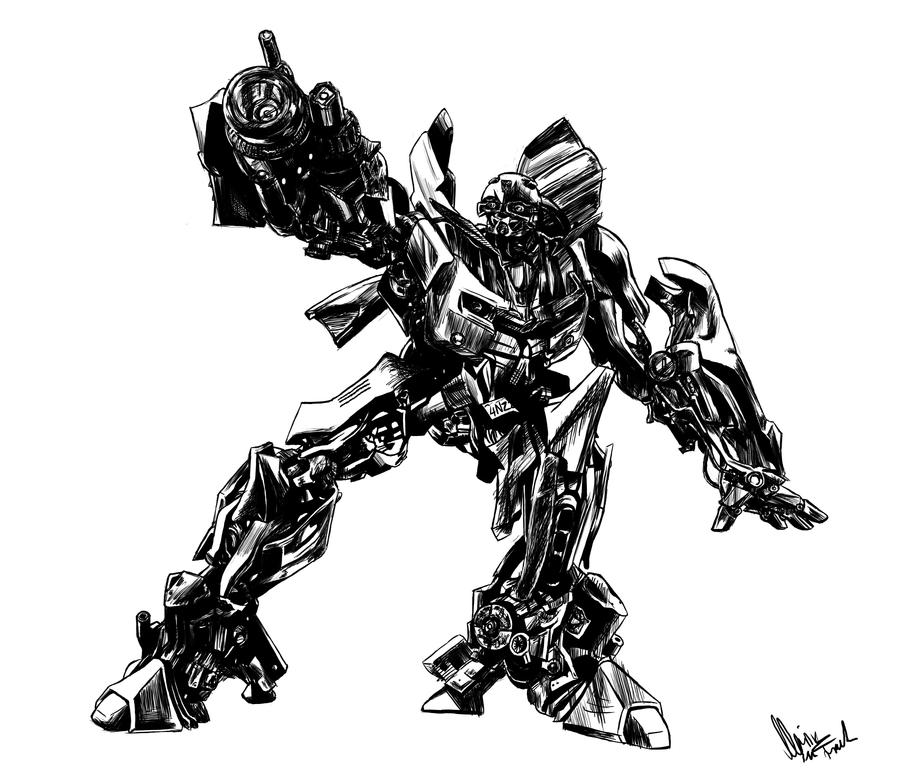 Bumblebee BW Transformers By YunakiDraw