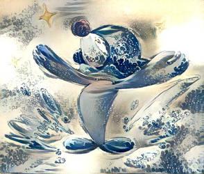 Popplio - Hokusai style by EnderWarlock
