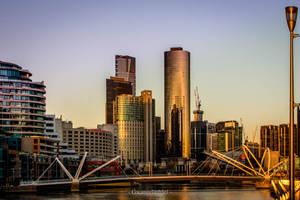 Sunset on the Seafarers Bridge and Melbourne CBD by Gwangelinhael